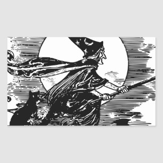 Vintage Witch Halloween Rectangular Sticker