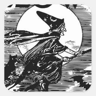 Vintage Witch Halloween Square Sticker