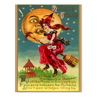 Vintage Witch in a Red Dress or is that Devil Postcard