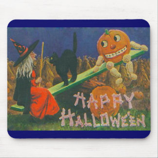 Vintage Witch & Jack o' Lanterns Play Time Mouse Mat