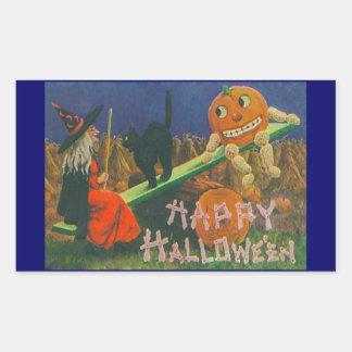 Vintage Witch & Jack o' Lanterns Play Time Sticker
