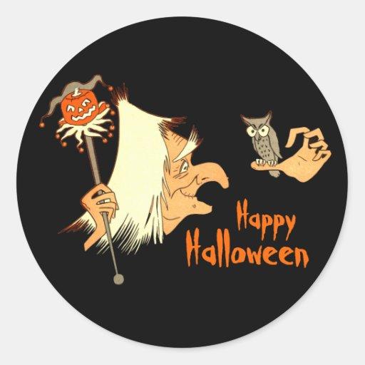Vintage Witch - Owl - JOL Halloween Stickers