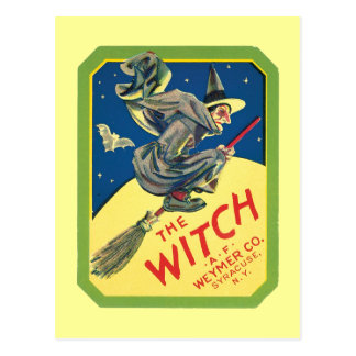 Vintage Witch Product Label Art Postcard