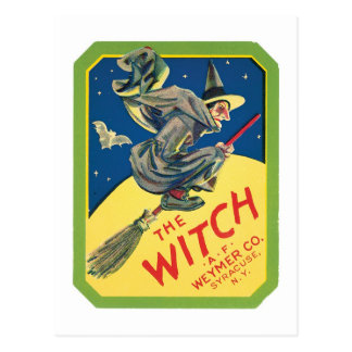 Vintage Witch Product Label Art Postcard