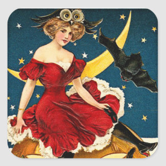 Vintage Witch Pumpkin Halloween Greetings Square Sticker