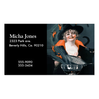 Vintage Witch Summoning Food For Her Cat Pack Of Standard Business Cards