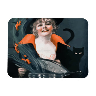 Vintage Witch Summoning Food For Her Cat Rectangle Magnet