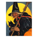 Vintage Witch with black cat