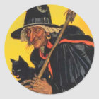 Vintage Witch with black cat Classic Round Sticker