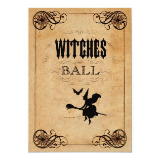 Vintage Witches Ball 30th Birthday Double Sided 13 Cm X 18 Cm Invitation Card