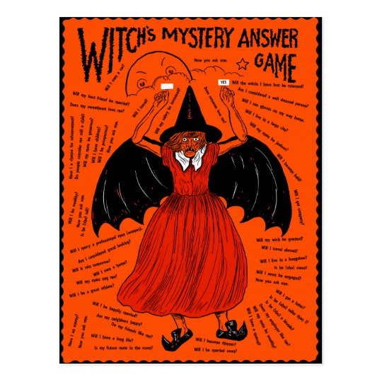 Vintage Witch's Mystery Answer Game Postcard