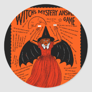 Vintage Witch's Mystery Answer Game Stickers