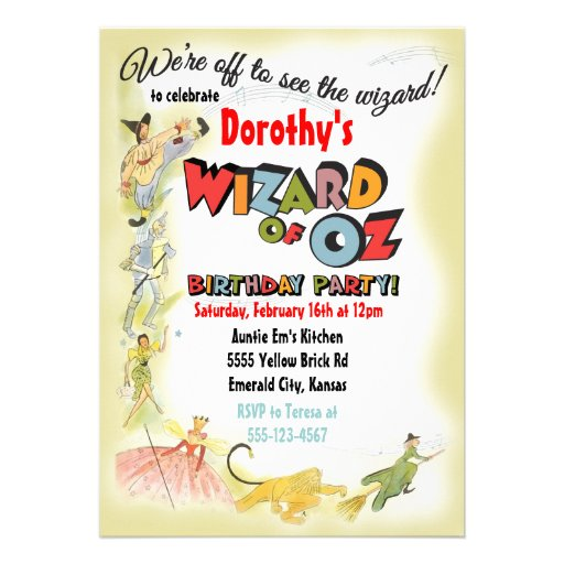 Vintage Wizard of Oz Birthday Party Invitations