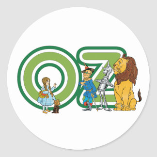 Vintage Wizard of Oz Characters and Text Letters Classic Round Sticker