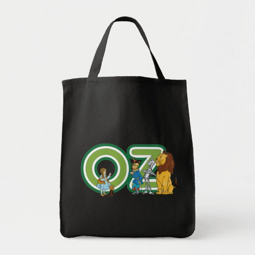 Vintage Wizard of Oz Characters and Text Letters Grocery Tote Bag