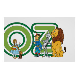 Vintage Wizard of Oz Characters and Text Letters Poster