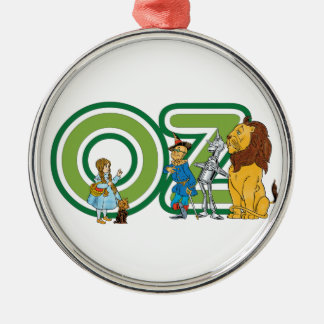 Vintage Wizard of Oz Characters and Text Letters Silver-Colored Round Decoration