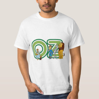 Vintage Wizard of Oz Characters and Text Letters T-Shirt