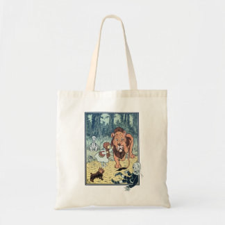 Vintage Wizard of Oz Characters, Yellow Brick Road Budget Tote Bag