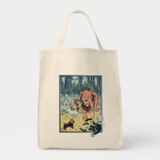 Vintage Wizard of Oz Characters, Yellow Brick Road Grocery Tote Bag