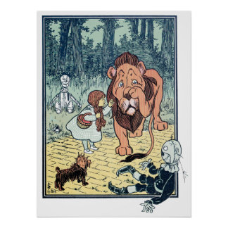 Vintage Wizard of Oz Characters Yellow Brick Road Poster
