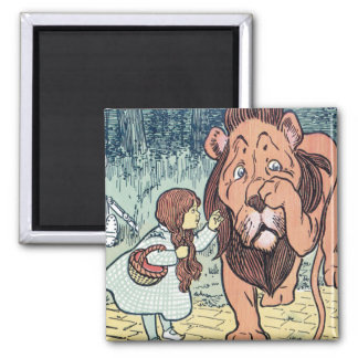 Vintage Wizard of Oz Characters, Yellow Brick Road Square Magnet