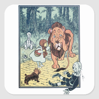 Vintage Wizard of Oz Characters, Yellow Brick Road Square Sticker