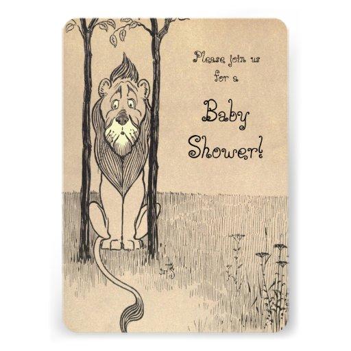 Vintage Wizard of Oz, Cowardly Lion Baby Shower Invitation