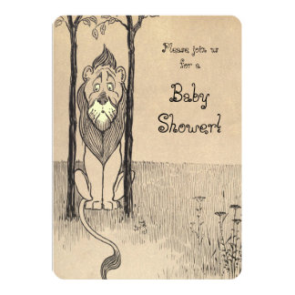 """Vintage Wizard of Oz, Cowardly Lion Baby Shower 5"""" X 7"""" Invitation Card"""