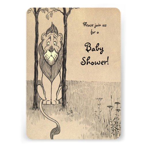 Vintage Wizard of Oz, Cowardly Lion Baby Shower Custom Invitations