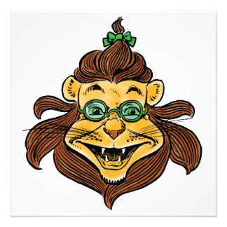 Vintage Wizard of Oz, Cowardly Lion Laughing Smile Personalized Announcement
