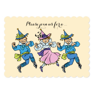 """Vintage Wizard of Oz Dancing Munchkins Baby Shower 5"""" X 7"""" Invitation Card"""