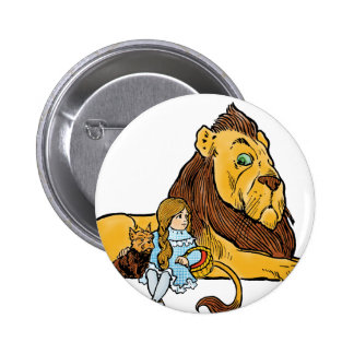 Vintage Wizard of Oz, Dorothy and Toto with Lion 6 Cm Round Badge