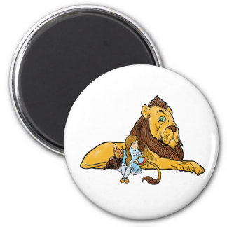 Vintage Wizard of Oz, Dorothy and Toto with Lion 6 Cm Round Magnet