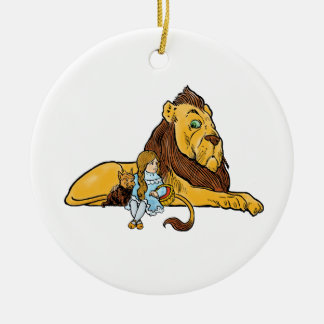 Vintage Wizard of Oz, Dorothy and Toto with Lion Round Ceramic Decoration