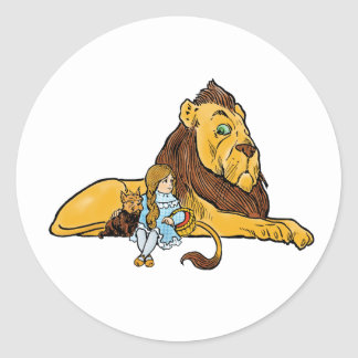 Vintage Wizard of Oz, Dorothy and Toto with Lion Round Sticker