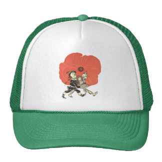 Vintage Wizard of Oz, Dorothy Asleep with Poppies Hat