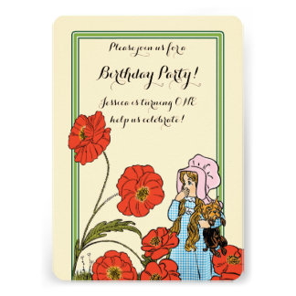 Vintage Wizard of Oz, Dorothy, Girl Birthday Party Custom Announcement