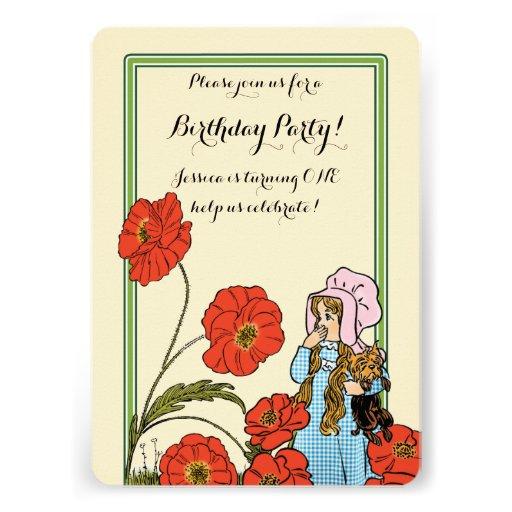 Vintage Wizard of Oz, Dorothy, Girl Birthday Party Custom Announcement