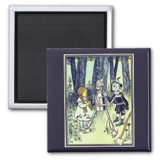 Vintage Wizard of Oz, Dorothy Meets the Tinman Square Magnet
