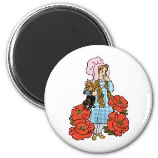 Vintage Wizard of Oz, Dorothy, Red Poppy Flowers 6 Cm Round Magnet