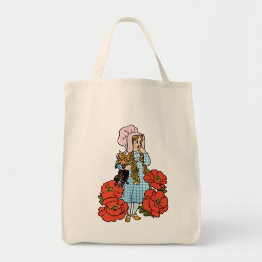 Vintage Wizard of Oz, Dorothy, Red Poppy Flowers Tote Bags
