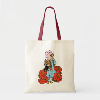 Vintage Wizard of Oz, Dorothy, Red Poppy Flowers Budget Tote Bag