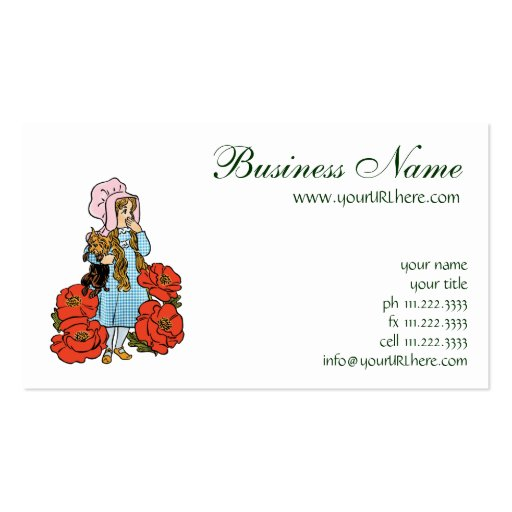 Vintage Wizard of Oz, Dorothy, Red Poppy Flowers Business Card Template