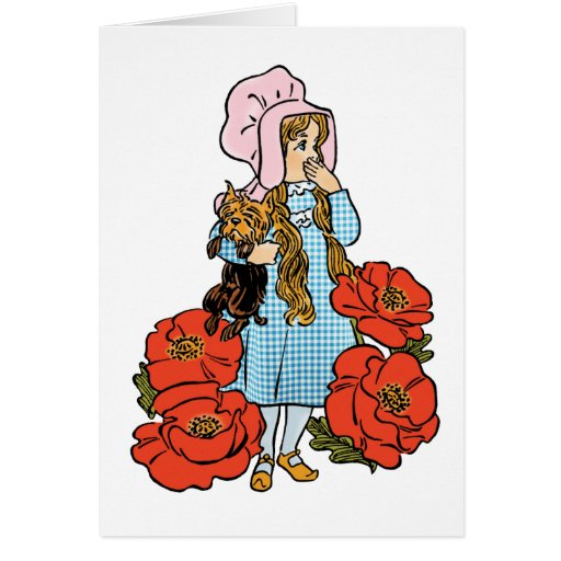 Vintage Wizard of Oz, Dorothy, Red Poppy Flowers Cards