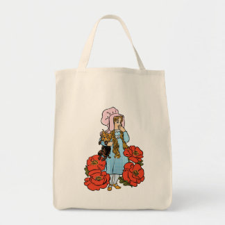 Vintage Wizard of Oz, Dorothy, Red Poppy Flowers Grocery Tote Bag