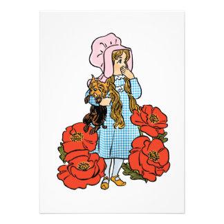 Vintage Wizard of Oz Dorothy Red Poppy Flowers Custom Invitation