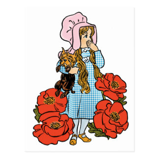 Vintage Wizard of Oz Dorothy Red Poppy Flowers Post Cards