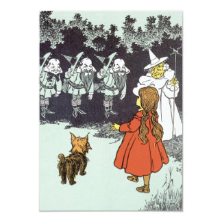 Vintage Wizard of Oz Dorothy Toto Glinda Munchkins 13 Cm X 18 Cm Invitation Card