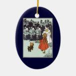 Vintage Wizard of Oz Dorothy Toto Glinda Munchkins Ceramic Oval Decoration
